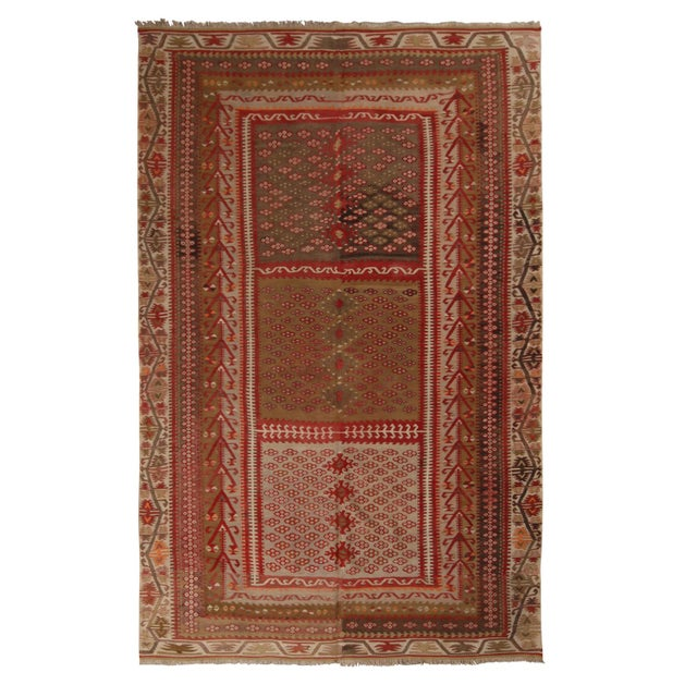 Vintage Kayseri Red and Brown Wool Kilim Rug For Sale - Image 9 of 9