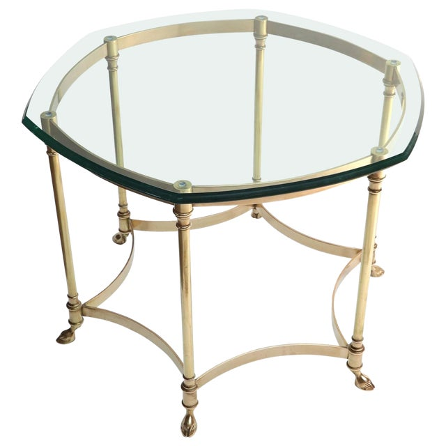 Hexagonal Brass Side Table With Glass Top and Goat Feet For Sale