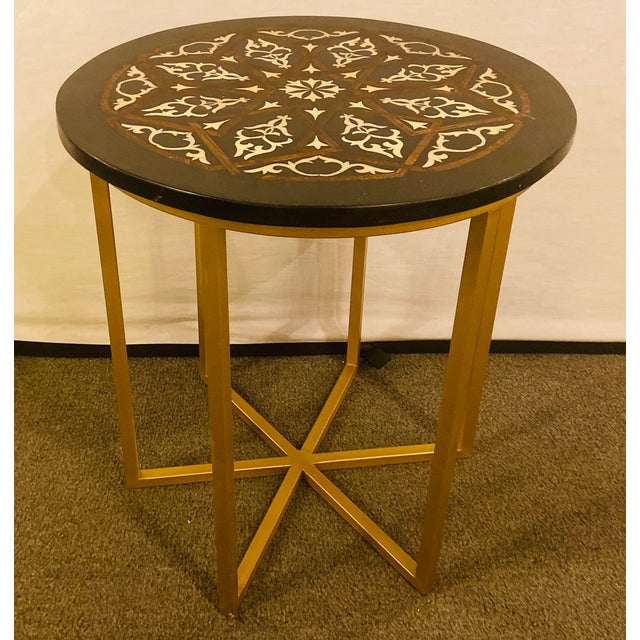 Islamic Moroccan Brass Side Table For Sale - Image 3 of 13