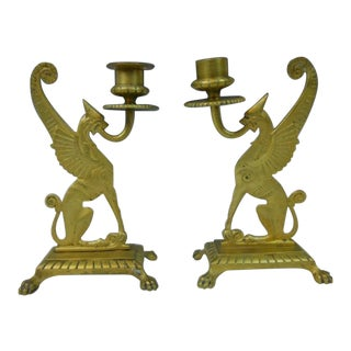 19th C. Brass Griffin Candlesticks - A Pair For Sale