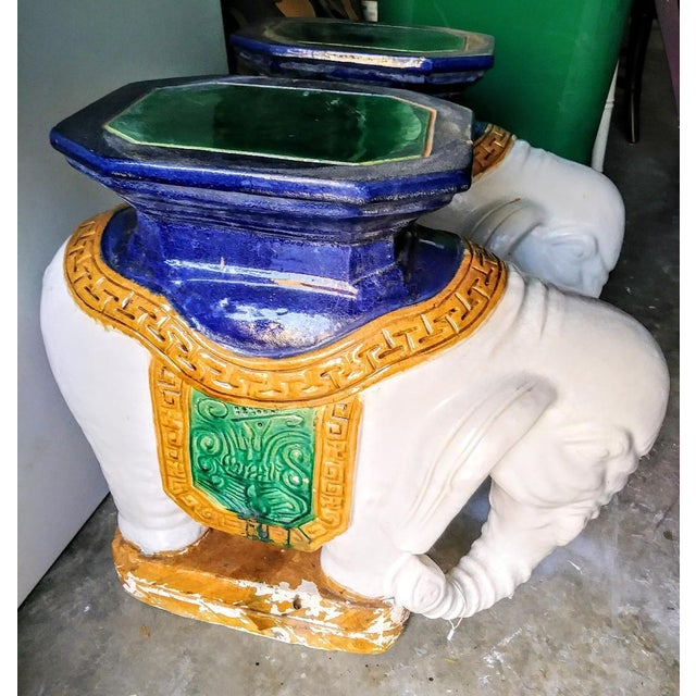 A Pair Vintage Chinoiserie Palm Beach Regency Colorful Elephant Garden Stools Tables For Sale - Image 10 of 10