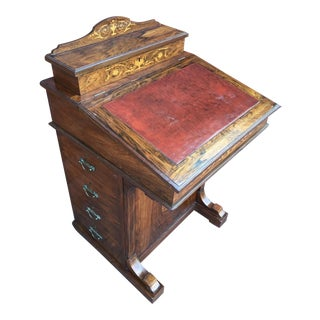 Early 19th Century French Marquentry Rosewood Davenport Desk For Sale