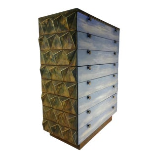 Mid-Century Modern Diamond Facet Brutalist Tall Dresser For Sale