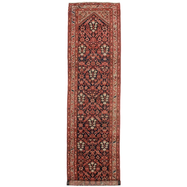 """Antique Persian Malayer Wool Runner - 3'6 x 13'11"""" For Sale"""