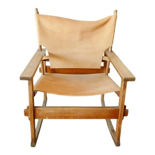 Poul Hundevad Cognas Leather Rocking Chair 1950s For Sale