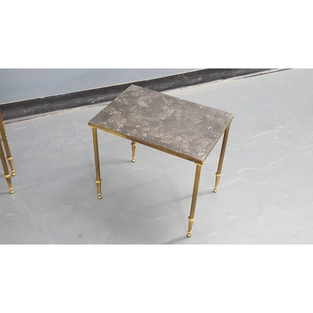 Mid 20th Century Set of Louis XVI Style Marble-Top Bronze Nesting Tables For Sale - Image 5 of 6