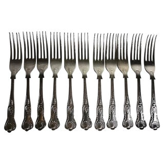 English Silverplate Forks, S/11 For Sale