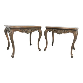 Louis XV Faux Painted Walnut Shell Carved Side Tables - a Pair For Sale