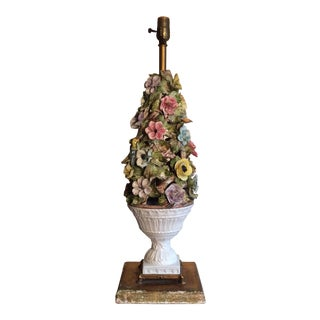 Vintage Capodimonte Style Porcelain Floral and Aviary Lamp For Sale
