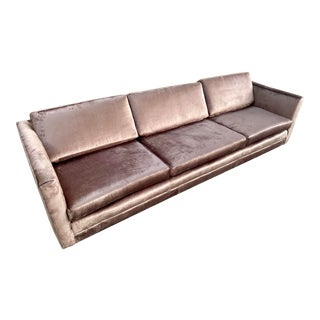 Restored Selig Tuxedo Sofa in a Velvet Brown For Sale
