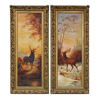 """""""A Pair of Stags in Twilight,"""" Paintings by an Unknown Artist, Oil on Canvas Dated 1912 For Sale"""