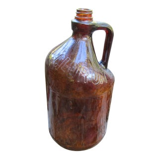 1950s Americana Amber Glass Clorox Jug For Sale