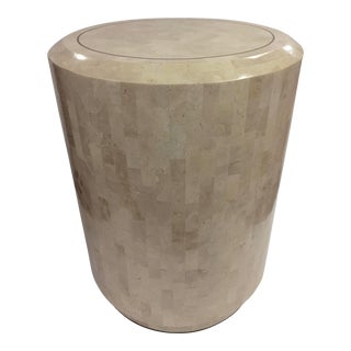 1980s Hollywood Regency Stone Tessellated Cylinder Side Table For Sale