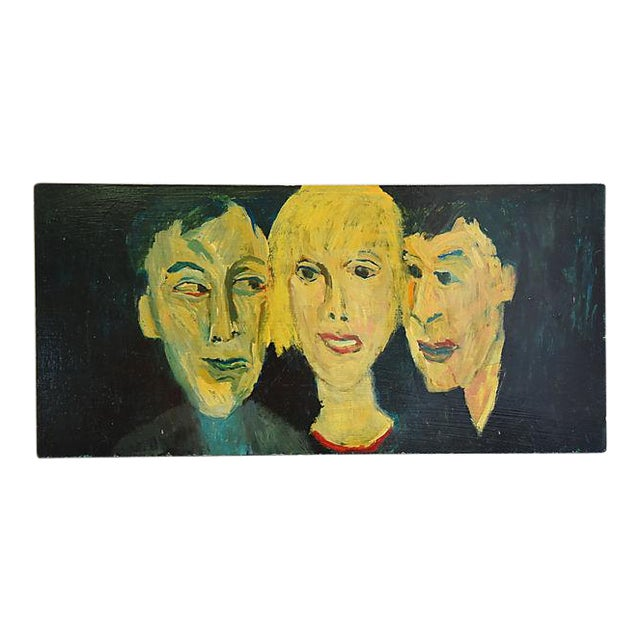 Midcentury Williard Wiener, Abstract Trio of Portraits Oil Painting - Image 1 of 6