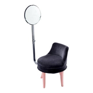 1940s Vintage Reflectone Corp Vanity Revolving Mirror Chair For Sale