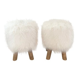 Pottery Barn Mongolian Faux Fur Stools- A Pair For Sale