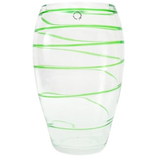 Murano Glass Vase by v. Nason & Co.Italy, Green Swirl Stripe For Sale