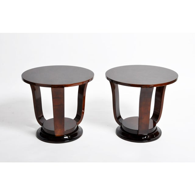 Hungarian Walnut Veneer Round Side Tables - a Pair For Sale - Image 13 of 13