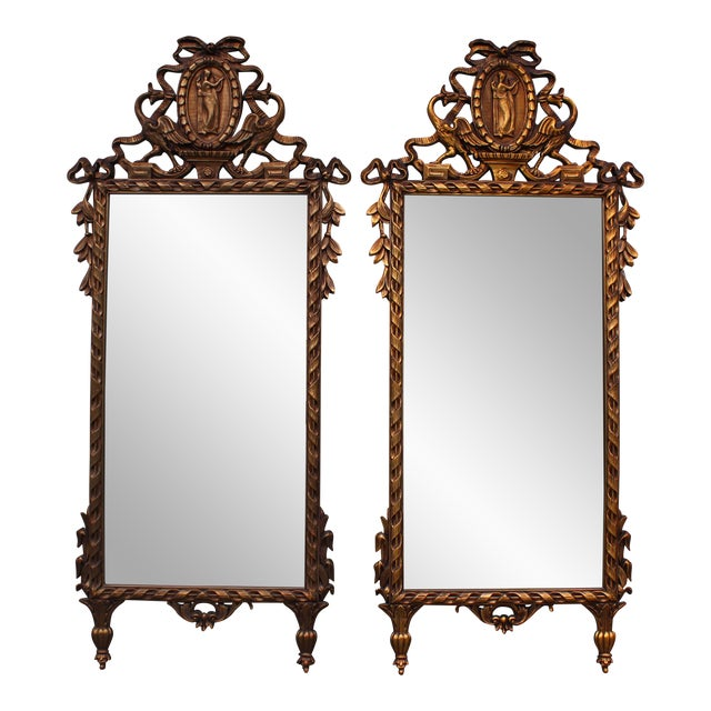 Vintage Ornate Gilded Full-Length Mirrors - A Pair | Chairish
