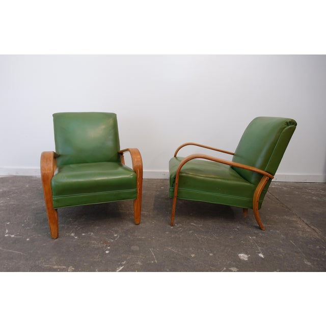 Green Mid-Century Modern Bentwood Club Chairs - a Pair For Sale - Image 8 of 9
