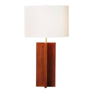 Solid Oak Cruciform Table Lamp With Shade For Sale