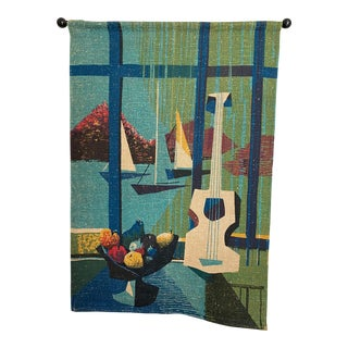 Mid-Century Modern Wall Hanging Linen Art Print For Sale