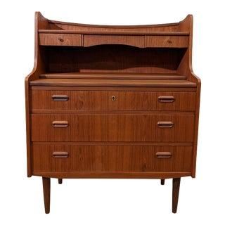 Vintage Danish Mid Century Teak Secretary Desk - Kobber For Sale