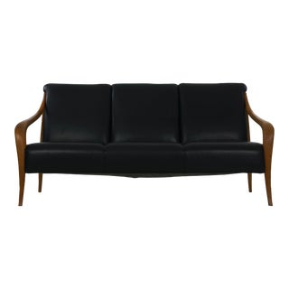 Danish Mid Century Modern Style Sculpted Teak Black Leather Sofa by Wagner For Sale