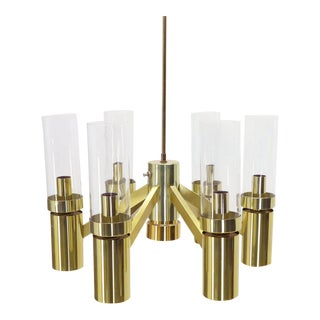 7 Bulbs 6 Point Geometric 3 Way Italian Light Fixture Chandelier Parzinger Style For Sale