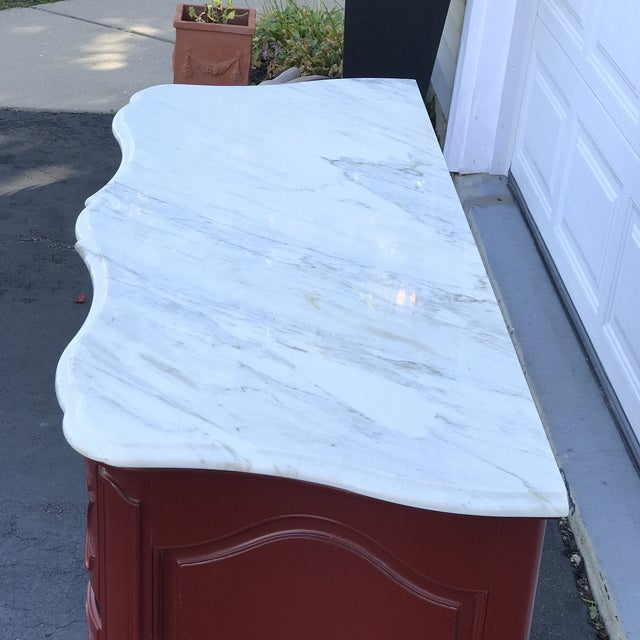 Chippendale Baker Marble Topped Painted Chippendale Dresser of Drawers For Sale - Image 3 of 13