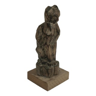 Vintage Brutalist Wood Cat Sculpture For Sale