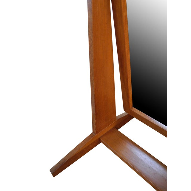 Wood Vintage Danish Modern Teak Full Length Floor Mirror by Pedersen & Hansen For Sale - Image 7 of 13