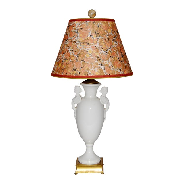 Neoclassical Lamp W/ Marble Lampshade - Image 1 of 5