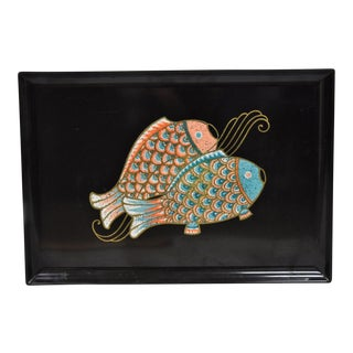 Vintage Couroc Brass Inlaid Fish Serving Tray