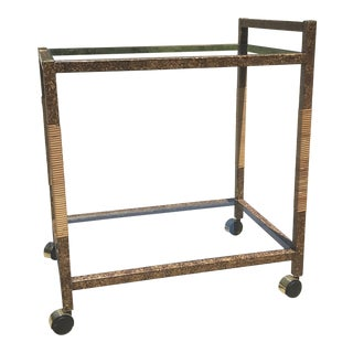 Mid Century Boho Faux Tortoise Shell Bar Cart