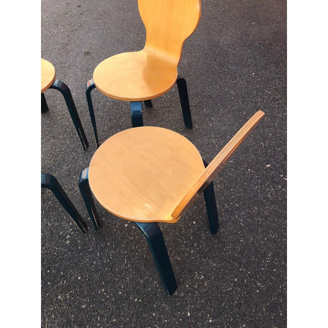 Wood Two Tone Dining Chairs by Thonet- Set of 4 For Sale - Image 7 of 13