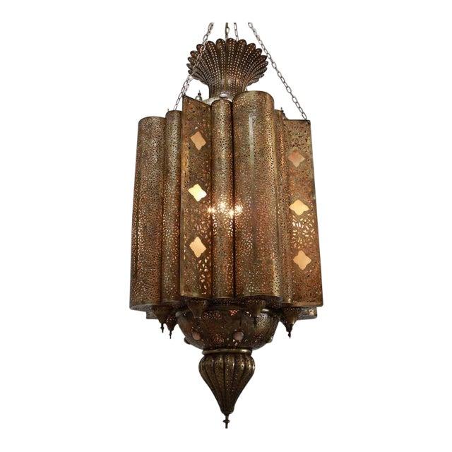 Large Moroccan Moorish Brass Chandelier For Sale