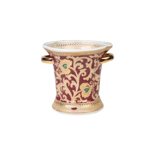 Red and Gold Tapestry Green Dotted Porcelain Ring Cup For Sale