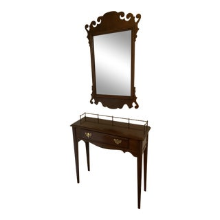 Hitchcock Furniture Company Cherry Sideboard With Brass Gallery and Mirror For Sale