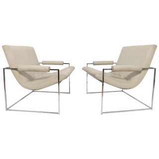 Pair of Leather Milo Baughman Scoop Lounge Chairs for Thayer Coggin For Sale