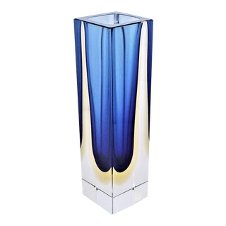 1970s Murano Glass Sommerso Vase by Mandruzzato-Italian Mid Century Modern MCM Tropical Coastal Palm Beach Italy For Sale
