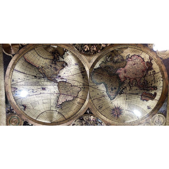 Contemporary Gold Foil World Map Planisphaerium Terrestre Lithograph, Framed For Sale - Image 3 of 7
