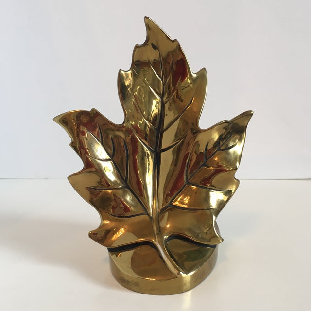 Mid-Century Modern Vintage Brass Leaf Bookend For Sale - Image 3 of 9
