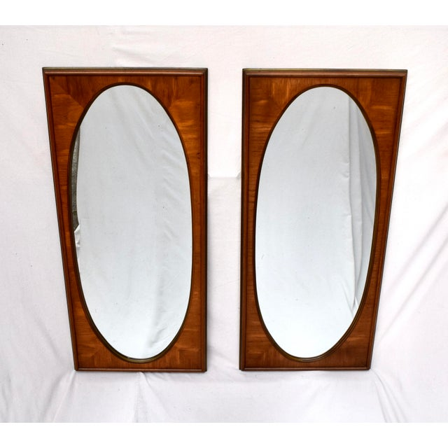 Chestnut 1950's White of Mebane Walnut Oval Mirrors - a Pair For Sale - Image 8 of 9