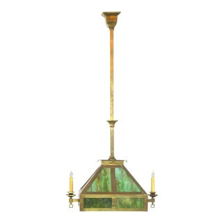 Arts and Crafts Slag Glass Gas & Electric Chandelier For Sale