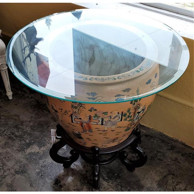PRESENTING an IMPRESSIVE and BEAUTIFUL Large Chinese Fish Bowl Side Table with Stand. Famille L'Orange in style, with...