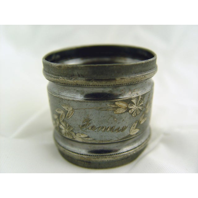 Art Nouveau Fannie & Abram Silver Plate Napkin Rings - Pair For Sale - Image 3 of 4