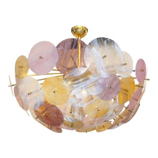 Contemporary Italian Yellow White Rose Pink Murano Glass Oval Sputnik Flushmount For Sale