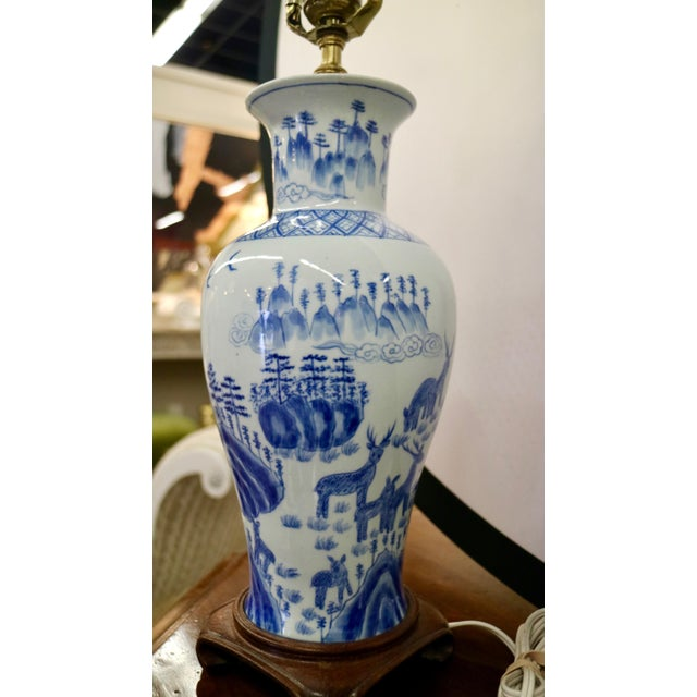 Blue & White Asian Lamps - A Pair For Sale In New York - Image 6 of 8