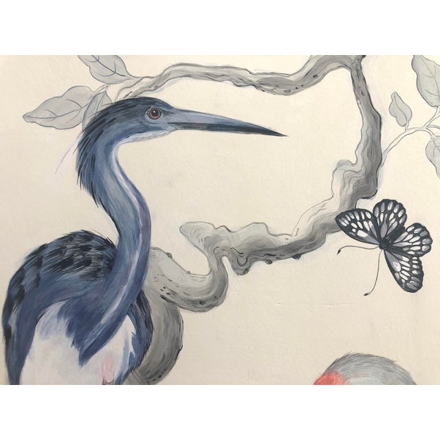 """2020s Chinoiserie Style Bird Painting, """"Long Time No Sea"""" For Sale - Image 5 of 8"""